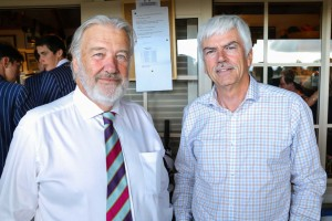 The Willows Cricket Club president, The Hon. Sir John Hansen with John Fairhall, Archibald's managing director.